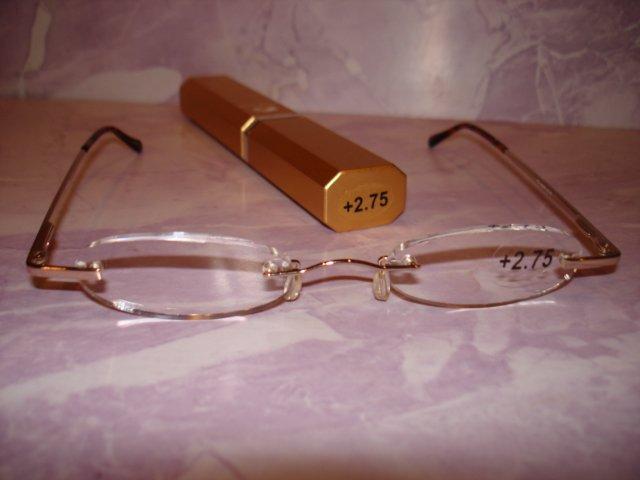 $9.99 free ship-New- Slim Reading Glasses silver frame no upper/lower rim+2.75 in Sturdy gold