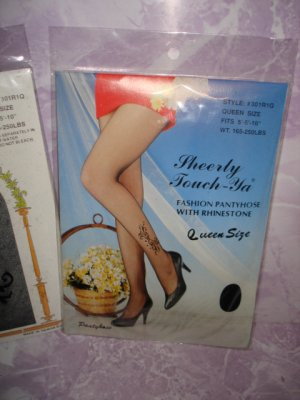 $2.99 New&sealed-1pair Queen size-Black Sheer Fashion Pantyhose with Rhinestone -XXL