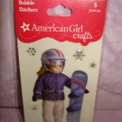 5 pieces- American Girl Crafts Winter Snowboard doll 3D Bubble Stickers