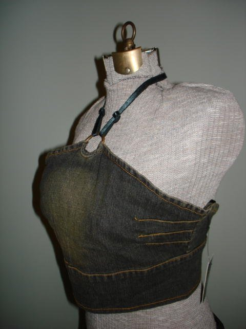 $7.99 New-Fitted Stretch Bodice,Tank top halter-Fade Vintage Gray Denim Vest Curves Corset M,L,XL