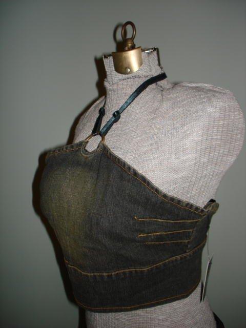 $7.99 New-Fitted Stretch Bodice,Tank top halter-Fade Vintage dark Gray Denim Vest Curves Corset-M