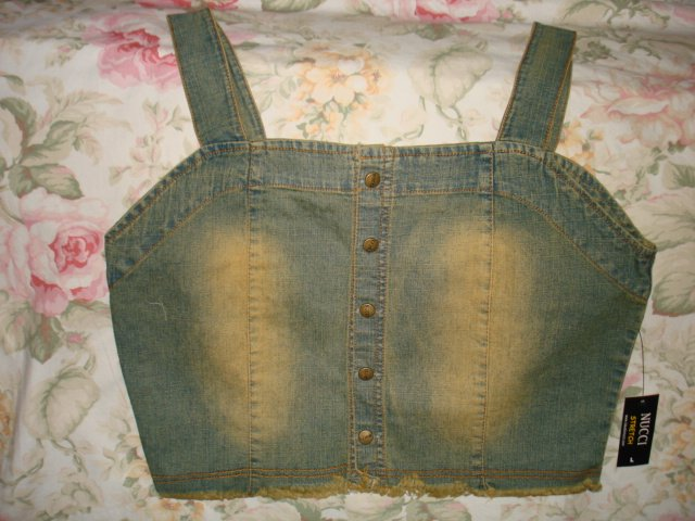 $7.99 New Sealed-Fitted Stretch Bodice,Tank top-Vintage Type Fade blue Denim Vest Curves Corset-XL