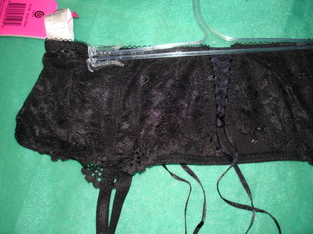 $9.99 free ship NWT_Romantic Sexy Lace-up garter belt Suspender  Black satin & lace-S