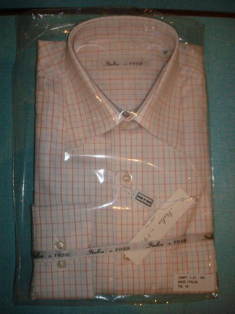 "$29.99 NEW & Tag MEN'S Italian ""Italia c. 1958"" DRESS SHIRT Long Sleeve15, size 38"