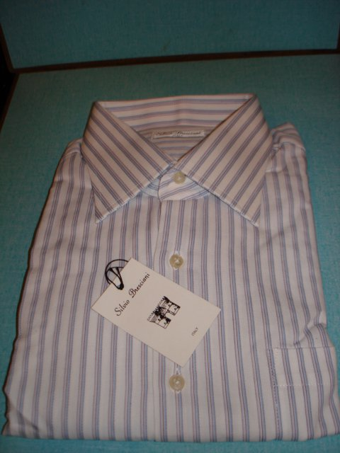 "$29.99 new&Tag MEN'S Italian""Silvio Bresciani""stripes DRESS SHIRT Long Sleeve17.5 size 44 cotton"