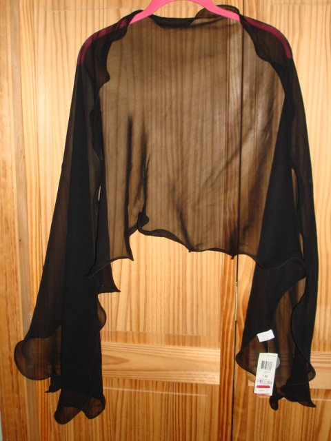 "$12.99 free ship new with tag Charter Club Black silk s sheer Wrap, Shawl scarf COVER UP 23.5""x 78"""