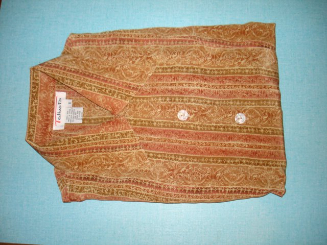 $14.99 free ship-New100% silk dress shirt  blouse tops TALBOT size 8/10=(M/L) mix of creme brown...