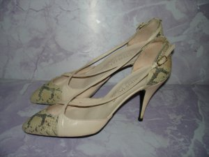"""$19.99 no ship-New Heel leather&snake skin pump 2"""" Stepanie of London""""shoes Size 7 1/2 B-from Spain"""