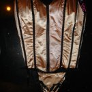 New Sexy Fashion Boned Corset Bustier Lingerie Shiny Beige,Women Underwear Top & G-string size L-36C