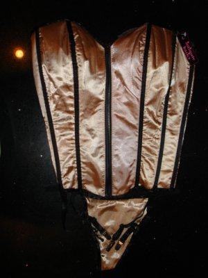 New Sexy Fashion Boned Corset Bustier Lingerie Shiny Beige,Women Underwear Top & G-string size L-36C