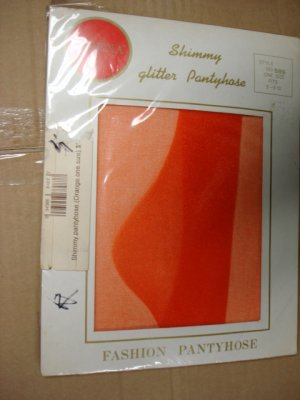 $2.99 New-1pair-Queen size-Bright Orange color Fashion Shimmery Glitter Pantyhose