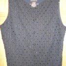 New Tag Lizclaiborne Dressy Style Vest Size Small Shiny beads on Black vest S /4