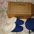 LL Bean Women Genuine Shearling Scuff Slipper&dust bag size 6 blue,7&11 white