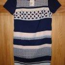 NWT_2013 H&M Lined Short dress Stretch Matt Satin Dark blue/Patterned size 6