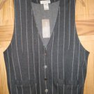 New Tag Jones New York Sport BankersTrust Style Vest Charcoal white pin stripe M