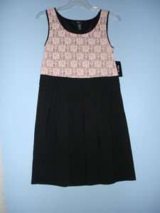 Style & Co. Pink Lacy top,bodice with black skirt Ladies Women dress Lacy 12 &14