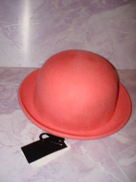 New&tag-H&M Brand Roll up Rim Women's Fedora wool Hat,dark Pink (peach tone) L