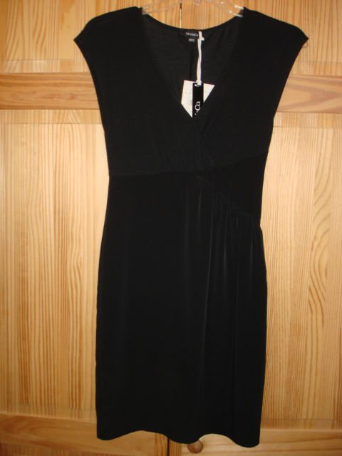 Marina Rinaldi Max Mara Elegant Black Dress size 2_NWT, jersey top wool blend.
