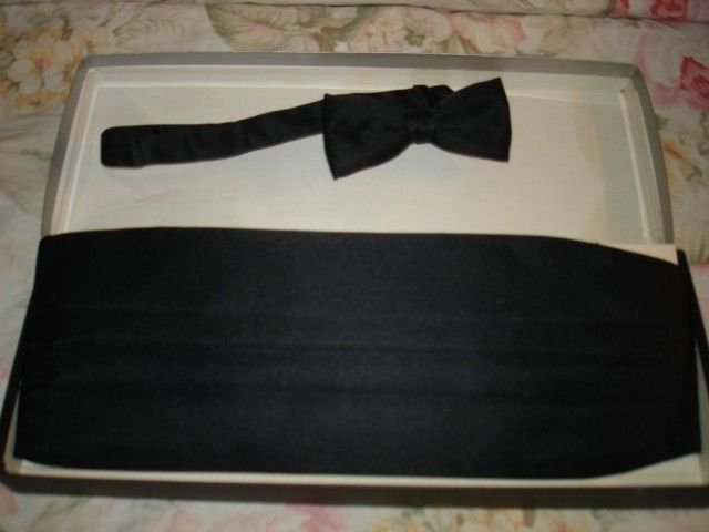 Adult BLACK Satin Tuxedo Cummerbund Bow Tie Set NEW in box