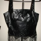 New-Fitted Bodice,Tank top-Vest Curves Corset- black leather like with Lace, L