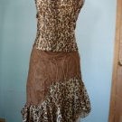 Brand new with tag Leopard & Suede (like), UNEVEN HEM,GYPSY STYLE FLARE BOTTOM Skirt S,M,L,XL