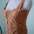 NWT-M -Renaissance Goth Fitted Corset Bodice,Tank top-Suede like , beige