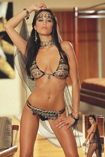 SEXY Open Cup Bra Belly Dancer Gypsy Stripper Costume Lingerie