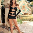 SEXY Halter Knit Rhinestone Buckle Mini Dress Exotic Dancer Clubwear