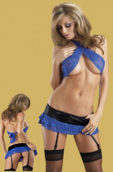 SEXY Lace Criss Cross Halter Bra Skirt Garter Lingerie