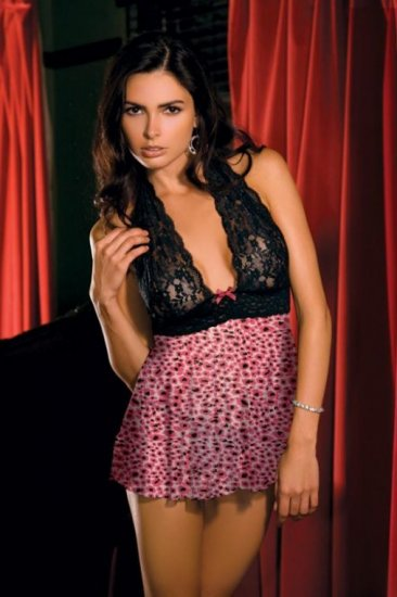 SEXY Sheer Lace PINK Leopard Babydoll Lingerie M/L
