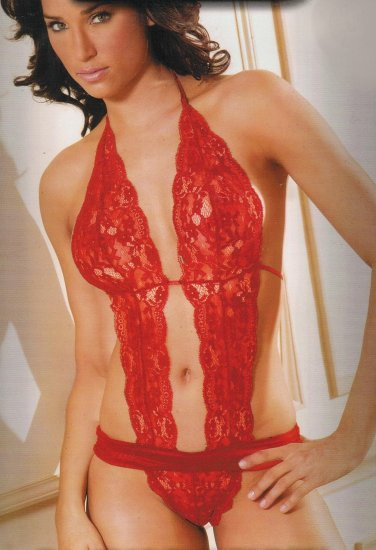 SEXY Sheer Lace Halter Thong RED Teddy Lingerie M