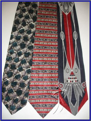 NEW DESIGNER COLLECTION ART DECO STRIPES SILK TIES LOT
