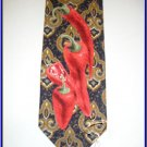 NEW STRUCTURE RED HOT PEPPER PAISLEY ART DECO SILK TIE