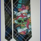 NEW ED HARDY SILK TIE PLAID TRUE TO MY LOVE SKULL SMOKI