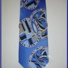 NEW STACY ADAMS SILK TIE ART DECO CIRCLES BLUE