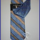 NEW STEVE HARVEY SILK TIE WITH HANKY BLUE STRIPES DOTS