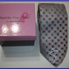 NEW REAL MEN WEAR PINK BREAST CANCER SILK TIE GREY DOTS