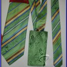 NEW STEVE HARVEY SILK TIE HANKY WEDDING SUIT STRIPES GR