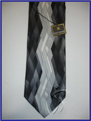 NEW STACY ADAMS SILK TIE BLACK WHITE DESIGNER NECKTIE