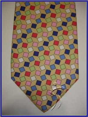 NEW EXECUTIVE DESIGNER STYLE SILK TIE BLUE PINK CUBES