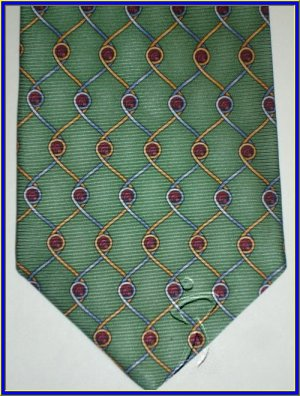 NEW EXECUTIVE DESIGNER STYLE SILK TIE GREEN WIRE FENCE