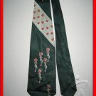 MENS RARE VINTAGE 1950s 1960s ART DECO FLOWERS SILK TIE