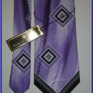 NEW STACY ADAMS SILK TIE LARGE PATTERN PURPLE BLOCKS