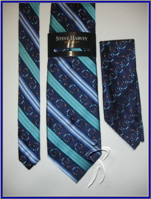 NEW STEVE HARVEY SILK TIE HANKY STRIPES EXECUTIVE