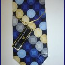 NEW STACY ADAMS SILK NECK TIE CIRCLES POLKA DOTS BLUE