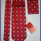 NEW STEVE HARVEY CODE RED SILK TIE HANKY CRISP WOVEN