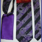 NEW STEVE HARVEY SILK TIE HANKY PAISLEY PURPLE STRIPES