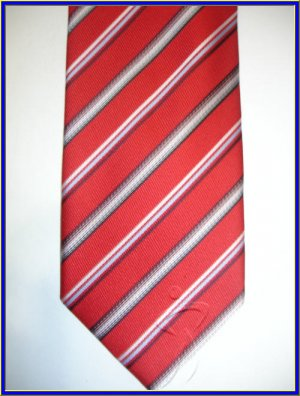 NEW BERGAMO HANKY CUFFLINK TIE SET RED STRIPES EXECUTIV