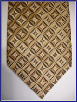 NEW BERGAMO HANKY CUFFLINK TIE SET BROWN CIRCLES WOVEN