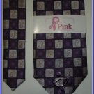 NEW BREAST CANCER LOGO CHECKERS SILK TIE PINK PURPLE
